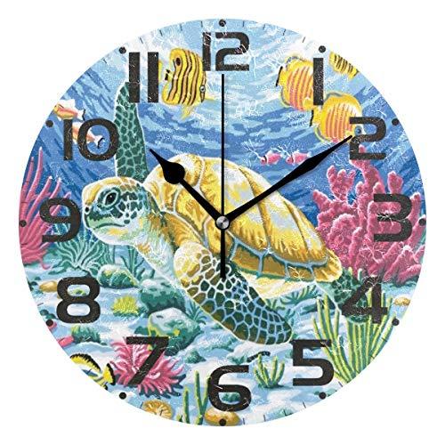 Pfrewn Underwater Ocean Turtle Wall Clock Silent Non Ticking Retro Beach Mermaid Galaxy Clocks Battery Operated Colorful Vintage Desk Clock 10 Inch Quartz Analog Quiet Bedroom Living Room Home Decor
