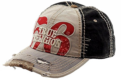 (True Religion Men's Bandana Logo Baseball Cap, Grey, One Size)