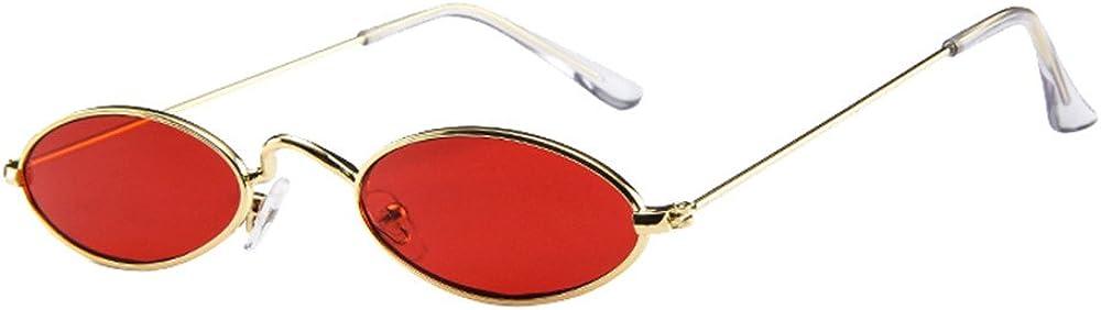 MERICAL Mens Womens Fashion Retro piccoli Occhiali da sole ovali della struttura del metallo Shades Eyewear