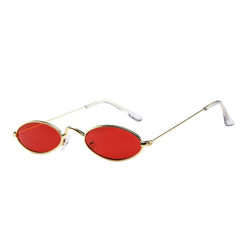 AMOFINY Fashion Glasses Mens Womens Retro Small Oval Sunglasses Metal Frame Shades Eyewear