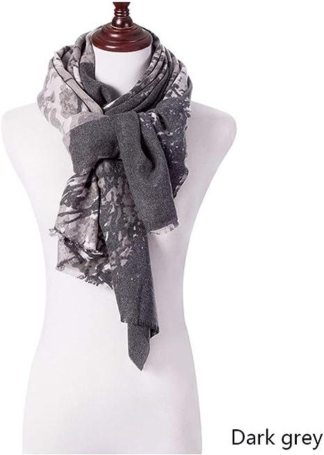 ZXXWJ Nuevo Diseño De Bufanda Mujer Bufandas De Algodón Largo Mantón De Impresión Envolver Señoras Mantón Grande Bufandas 190×70Cm Invierno,Gris Oscuro: Amazon.es: Deportes y aire libre