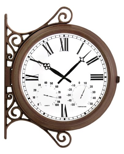 Double Sided Station Clock - 38cm (15'') by primrose.co.uk
