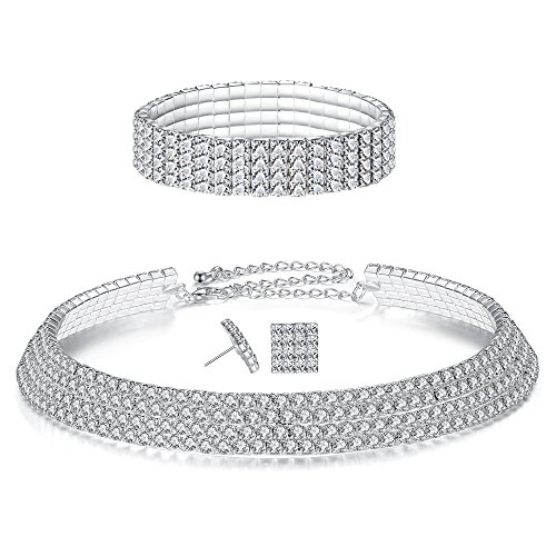Row Wedding Crystal Rhinestone Bridal Necklace Earrings and Bracelet Jewelry Set ()