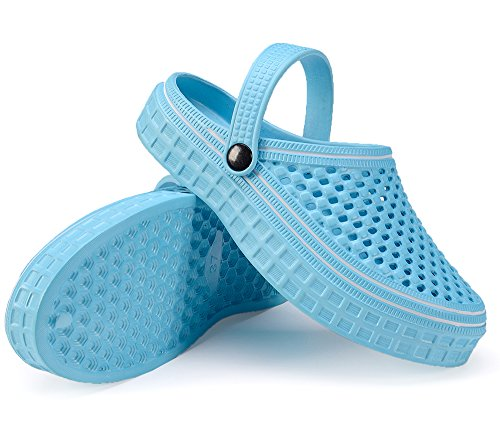 Lightweight Sandals Unisex Mesh Garden Shoes LightBlue Coolloog Comfort Walking Drying Clogs Sandals Quick Slippers 7FXwqWd