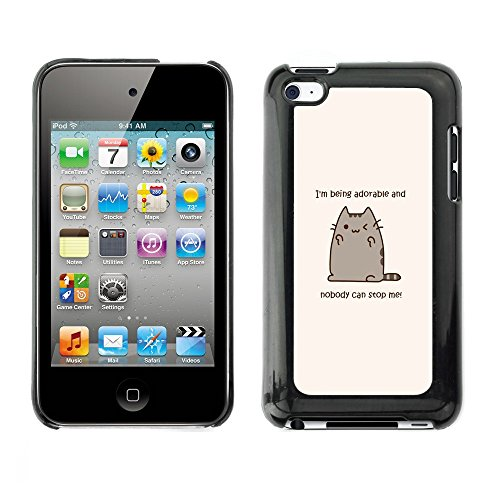 Soft Silicone Rubber Case Hard Cover Protective Accessory Compatible with Apple IPod? Touch 4 - adorable cat cartoon character motivational