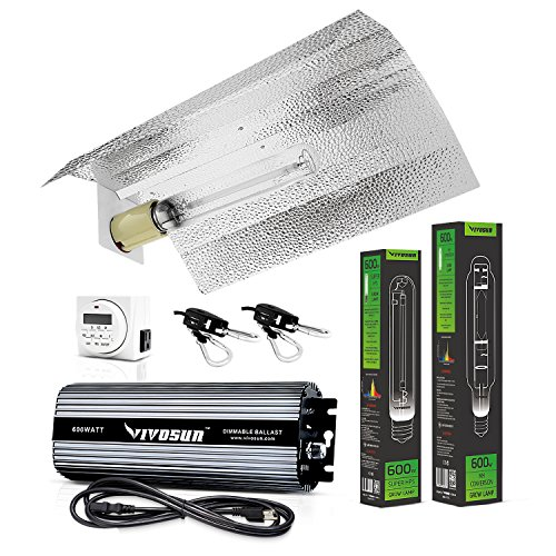 VIVOSUN Hydroponic 600 Watt HPS MH Grow Light Wing Reflector Kit - Easy to set up, High Stability & Compatibility (Enhanced Version)