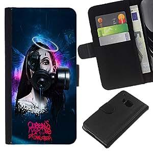 BearCase / Cuero de la tarjeta la carpeta del tirón Smartphone Slots Protección Holder /// HTC One M9 /// Goth Robot Sci Fi mujer