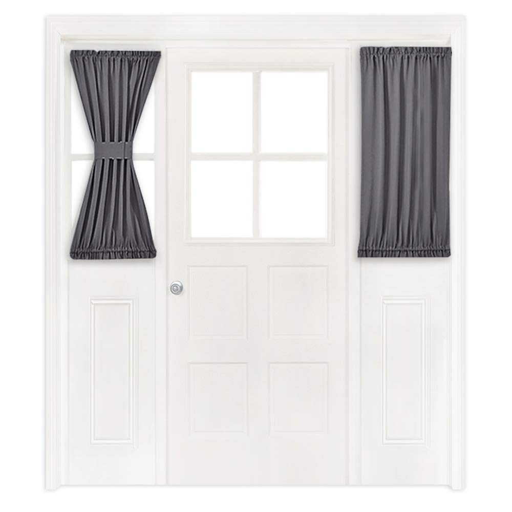 NICETOWN Window Curtain for French Door - Thermal Insulated Blackout Patio Door Curtain/Sidelight Curtain Panel (25W by 40L Inches, Grey, One Panel)