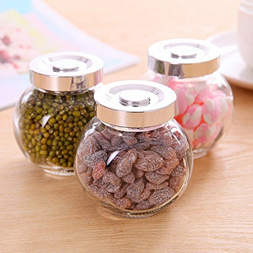 KAKA(TM) Kitchenware Foods Castor Jam Jar Seasoning Glass Container Storage Canister Cans