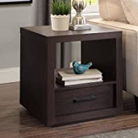 Square End Table, Espresso Finish, Large Open Shelf, Lower Drawer, Made of Wood, Metal Handware, Nightstands, Sofa Table, Ideal for Bedroom, Living Room, Indoor Furniture, BONUS E-book