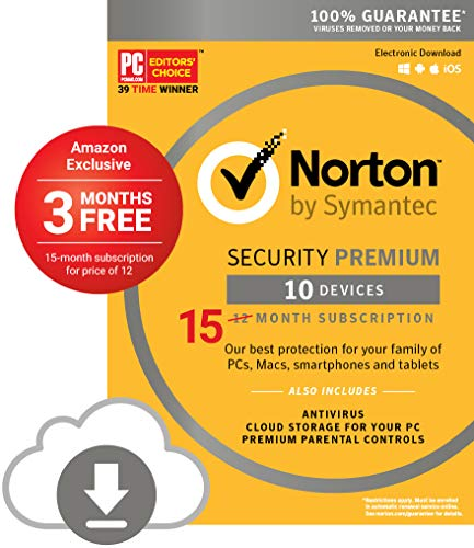Norton Security Premium - 10 Devices - Amazon Exclusive 15 Month Subscription - Digital Download [PC/Mac Online Code] - 2019 Ready