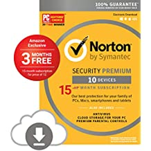 Norton Security Premium - 10 Devices - Amazon Exclusive 15 Month Subscription - Digital Download [PC/Mac Online Code] - 2019 Ready