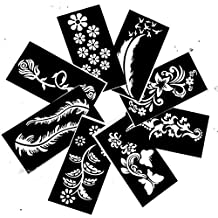Temporary Tattoo Stencils Templates Stickers Waterproof Adhesive Body Art Painting for Temporary Indian Henna Tattoo Cone (8 Stencil)