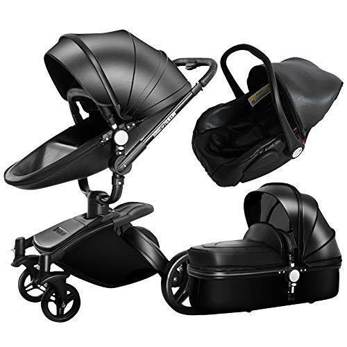 Luxury 3 in 1 Baby Stroller/Pram, PU Leather Pushchair+ Sleeping Basket + Car Seat, 360° Rotation, Bidirectional, Baby Trolley (Black)