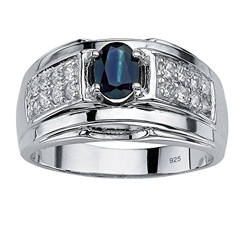 Men's Oval-Cut Genuine Midnight Blue Sapphire and Cubic Zirconia .925 Sterling Silver Ring Size (Genuine Midnight Blue Sapphire)