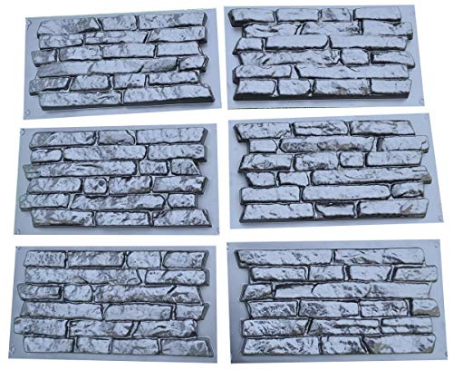 SET 6 pcs PLASTIK MOLD CONCRETE PLASTER WALL STONE TILES FOR FORMS WALL -