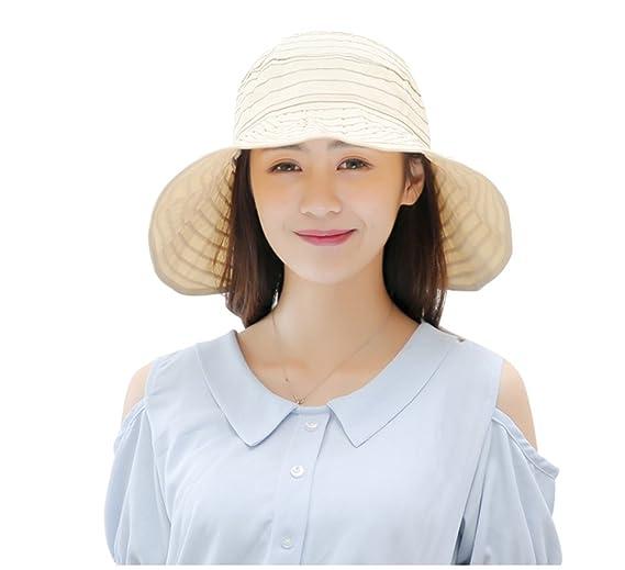 8a9232cf5ec1a Zoye Chen Women s Summer Reversible Empty Top Beach Sun Brim Hat sunshade  Foldable Wide Brim Beach