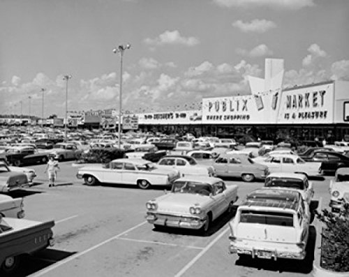 Cars parked in front of a shopping mall North Gate Shopping Center Tampa Florida USA Poster Print (24 x - Gate North Shopping Mall