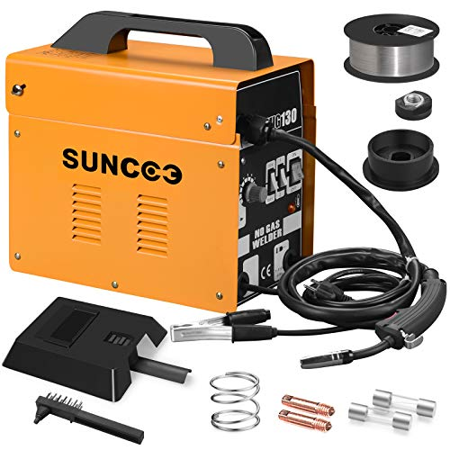 SUNCOO MIG 130 Welder Flux Core Wire Automatic Feed Welding Machine No Gas 110 Volt Portable Welder Machine with Mask and Spool Gun Yellow