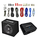 Kicker 43VC124 12' Dual 4 Ohm Subwoofer w/ Enclosure, and Rockford Fosgate Prime R500X1D Class D Monoblock Amplifier, and Enrock Audio 18 AWG Gauge 50 Feet Speaker Wire Cable