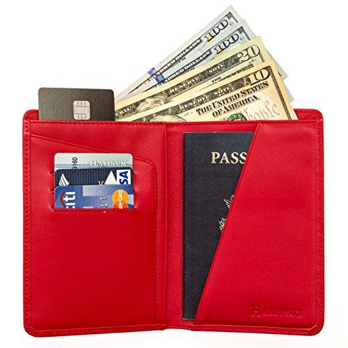 (RFID Blocking Passport Holder Travel Wallet for Men and Women - Genuine Leather (Red))