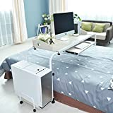 "Soges Overbed Table 55"" Laptop Cart Nursing Table with keyboard Hospital Mobile Table for Eating on Bed, Beige 203-2-140BFM"
