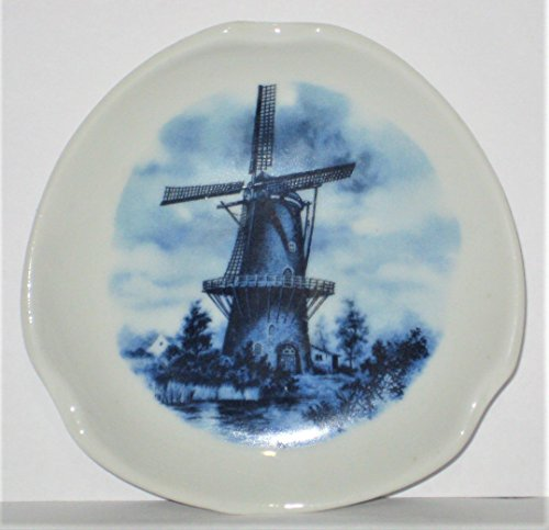 Holland Floral Vase (Vintage Delft Holland Blauw Blue Hand Painted Windmill Scene 3 1/2 Inch Dish Ashtray)