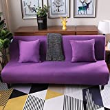 Sofa bed slipcovers with 3 Cushion,Surefit sofa covers stretch, Stain resistant anti-Slip armless sofa protector 3 Seats couch for living room -purple 59-77in