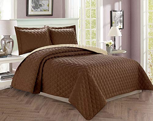 7 Piece King Linens - Celine Linen  Luxury 3-Piece Bedspread Coverlet Diamond Design Quilted Set with Shams - All Season Heavy Weight- Hypoallergenic- Wrinkle & Fade Resistant- King/California King, Chocolate/Cream