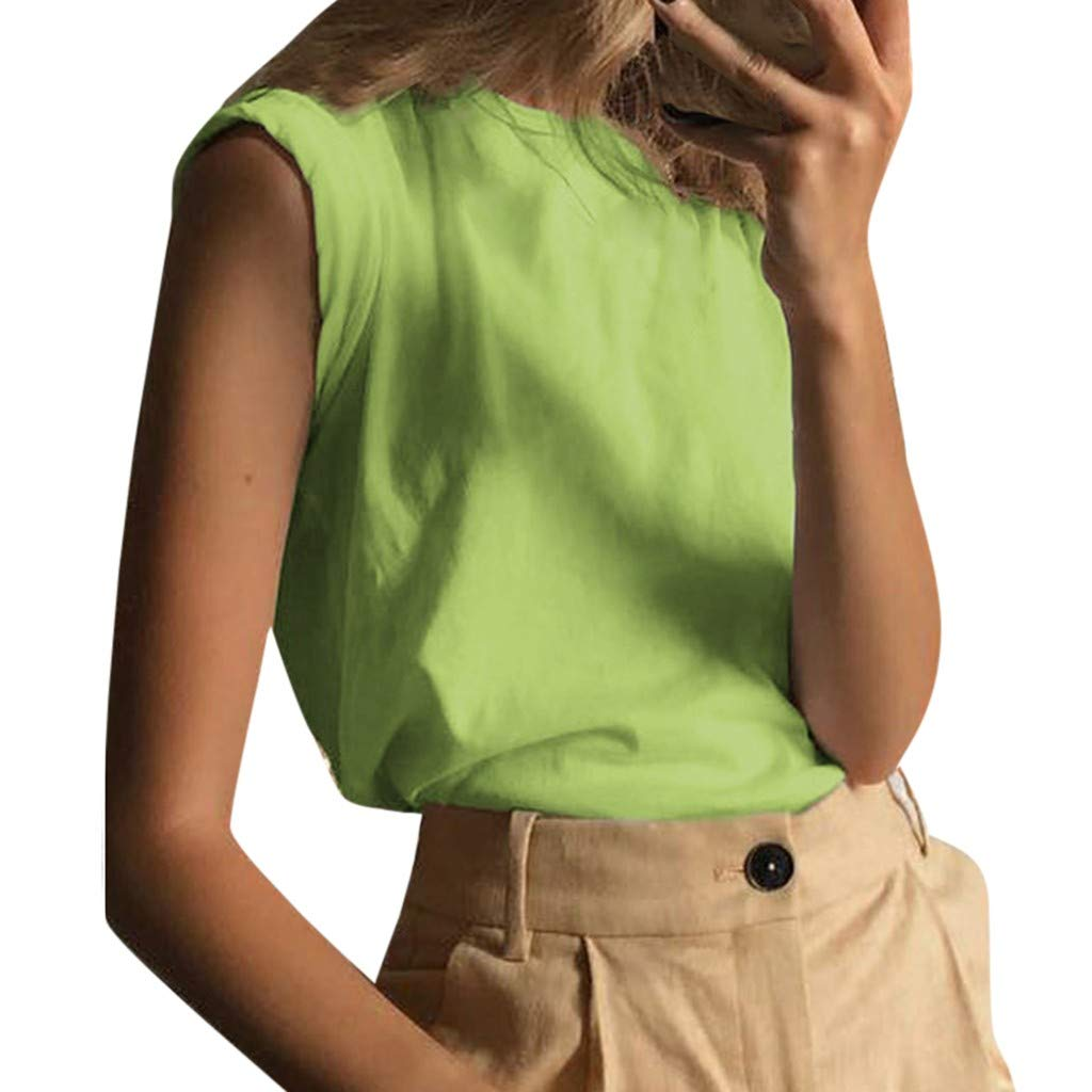 Tank Tops for Women Casual Round Neck Sleeveless Vest Simple Basic Pure Color Blouses (XL, Green)