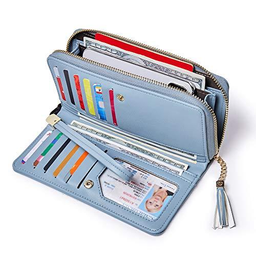 (Women Wallets PU Leather Zip Around Bifold Ladies Clutch Purse Checkbook Credit Card Holder blue)