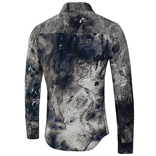 Uomo Nero Camicie Bhydry B Sottile Casual Da Blusa Manica Stampata Moda Lunga Top EEwdPrqn