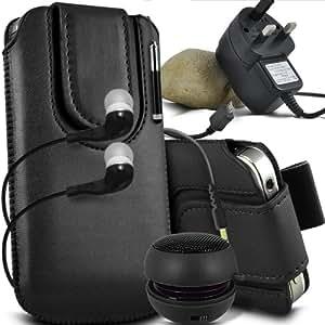 ONX3 Huawei Ascend P6S Leather Slip protectora magnética de la PU de cordón en la bolsa del lanzamiento rápido con Mini capacitivo Stylus Pen retráctil, 3.5mm en auriculares del oído, mini altavoz recargable Cápsula, Micro USB CE aprobó 3 Pin Cargador (Negro)