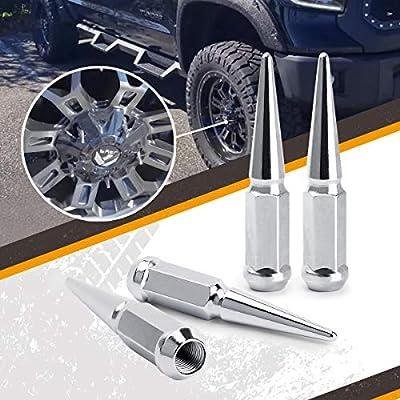14 mm x 1.5 Wheel Spike Lug Nuts, 24 x Chrome M14x1.5 Lug Nut, Cone/Conical Bulge Seat, Dynofit Silver Closed End Nuts with 1 Socket Key for Chevy Silverado Aftermarket Wheel: Industrial & Scientific