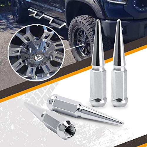 Wheel Accessories Parts 24 Pc Kit Spline Spiked Solid Metal Black Lug Nuts 14x2.0 Thread 4.4 Tall Closed End Bulge Acorn Spike Lug Nut and 1 Long Socket Key Fit Ford F-150 Expedition Navigator