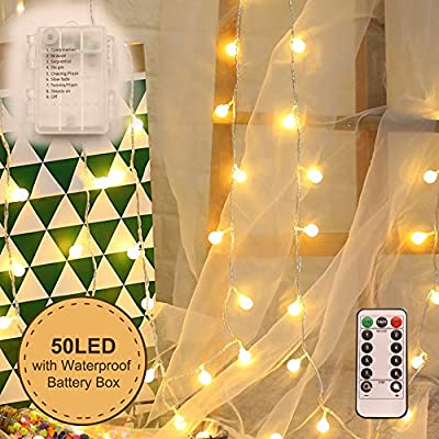 WED Globe Ball String Lights, 100 LED Warm White Fairy Light with Remote Contronl