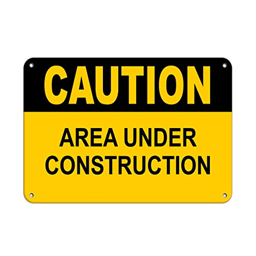 Caution Area Under Construction Construction Sign Aluminum METAL Sign 24 in x 18 in from Fastasticdeals
