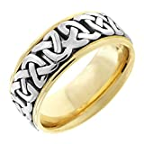 Two Tone Platinum and 18K Yellow Gold Celtic Love Knot Men's Wedding Band (8.5mm) Size-9.5c2