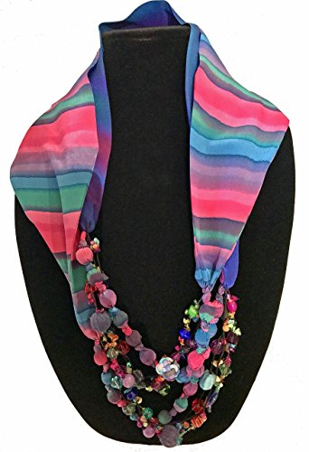 Chine Yarns - Women's Handmade Scarf Necklace, Infinity Style, Hand Painted Silk with Non Precious Bead Accents - LRW DESIGNS