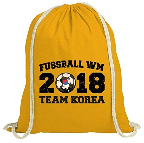 ShirtStreet Wappen Fußball WM Fanfest Gruppen natur Turnbeutel Rucksack Gymsac Team Korea Gelb Natur