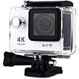 H9 Action Camera 4K Ultra HD 12MP WiFi Sport Cam Waterproof Underwater 30M Dual 2inch LCD Display 170° Wide Angle Lens 30 Accessories Kits (White)