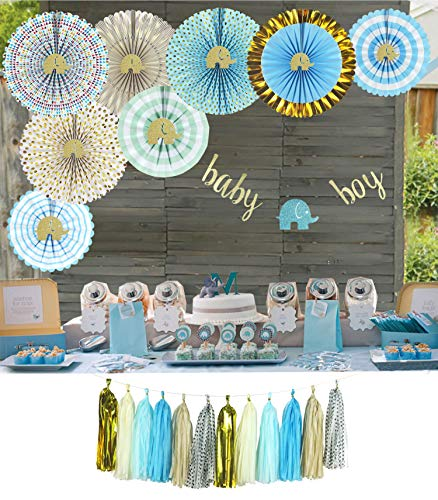YARA Elephant Baby Shower Decorations Kit for Boy| Blue and Gold Party Supplies| Paper Fans|Baby Boy Bunting Banner| Tassels Garland| It's a -