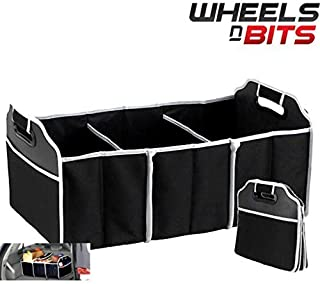 Wheels N Bits 2-in-1 Heavy Duty Collapsible Car Boot Organiser Foldable Shopping Tidy Storage