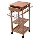 Premade Kitchen Island Rolling Bamboo Kitchen Island Storage Utility Cart Dining Portable Trolley Stand Storage Cabinet Drawer Shelves Chrome Plated Basket Stainless Steel Towel Rack Easy Storage