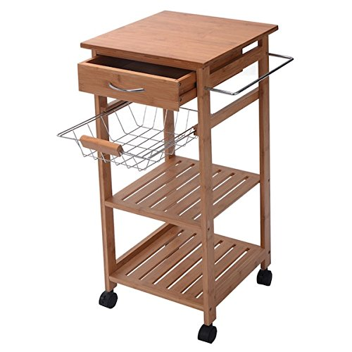 Ncvhome Rolling Bamboo Kitchen Island Storage Utility Cart Dining Portable Trolley Stand Storage