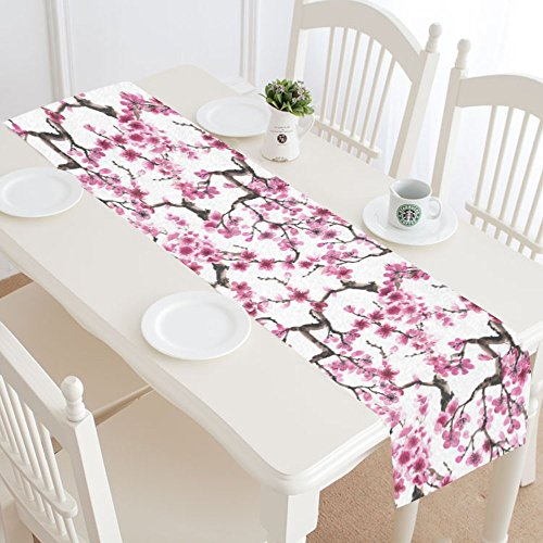 INTERESTPRINT Flower Japanese Sakura Table Runner Home Decor 16 X 72 Inch,Japan Cherry Blossom Table Cloth Runner for Wedding Party Banquet Decoration