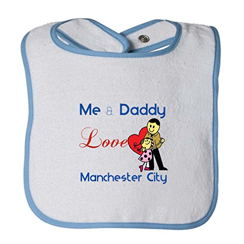 Manchester Trim - Me & Daddy Love Manchester City Infant Contrast Trim Terry Bib White/Blue