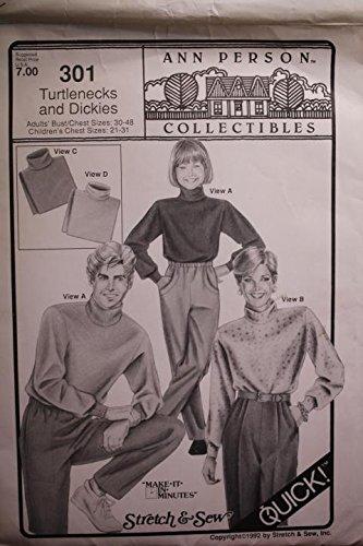 Dickies Turtleneck - Stretch & Sew Pattern 301 Turtlenecks And Dickies Sz 30-48