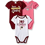 NFL Washington Redskins Girls Short Sleeve Bodysuit (3 Pack), 0-3 Months, Pink