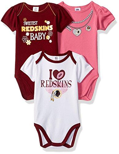 NFL Washington Redskins Girls Short Sleeve Bodysuit (3 Pack), 6-12 Months, Pink